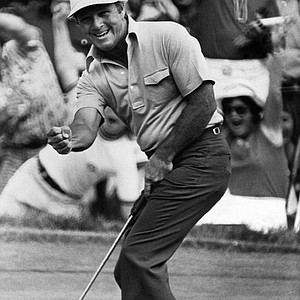 With a clenched fist, Arnold Palmer gives vent to his emotion at sinking a birdie putt on the 17th hole at Winged Foot Golf Club in Mamaroneck, New York on Friday, June 14, 1974 in second round of the 74th U.S. Open golf championship. Palmer went on to post an even par 70. With his opening round of 73 that puts him in a tie for lead.