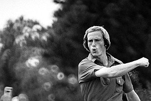 Young Jerry Pate reacts to making a birdie putt on the third Sunday during the fourth round of US Open on June 20, 1976 in Duluth, Georgia. The birdie within one shot of tying leader John Mahaffey.