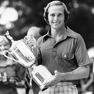 Jerry Pate poses with his trophy after winning the U.S. Open with a score of 277 at the Atlanta Athletic Club in Duluth, Ga., on June 20, 1976.