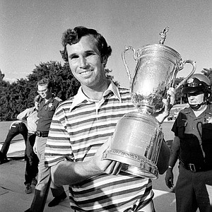 Hubert Green of Birmingham, Ala., holds the U.S. Open Championship trophy he won at the Southern Hills Country Club in Tulsa, Okla., on June 19, 1977. Green won with a 72-hole total of 278. Green also won $45,000.