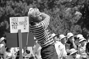 Jack Nicklaus drives from the tee on the 432-yard par 4 ninth hole at Cherry Hills Country Club in Denver, Colo., in the second round of the U.S. Open golf championship, June 16, 1978.