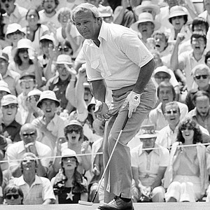 Arnold Palmer on the 18th hole, which he birdied, during the US Open Golf Championship at the Cherry Hills Country Club, June 14, 1978, Denver Colo.