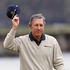 Hale Irwin, of Kapalua, Hawaii, waves to the gallery at the 18th hole during his first round of the 100th U.S. Open Golf Championship at the Pebble Beach Golf Links in Pebble Beach, Calif., Friday, June 16, 2000. Irwin finished at 3-under-par 68.