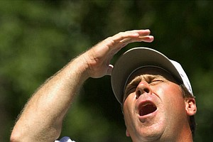 Hal Sutton reacts as his missed birdie attempt on the third hole during the second round at the U.S. Open at the Southern Hills Country Club in Tulsa, Okla., Friday, June 15, 2001.