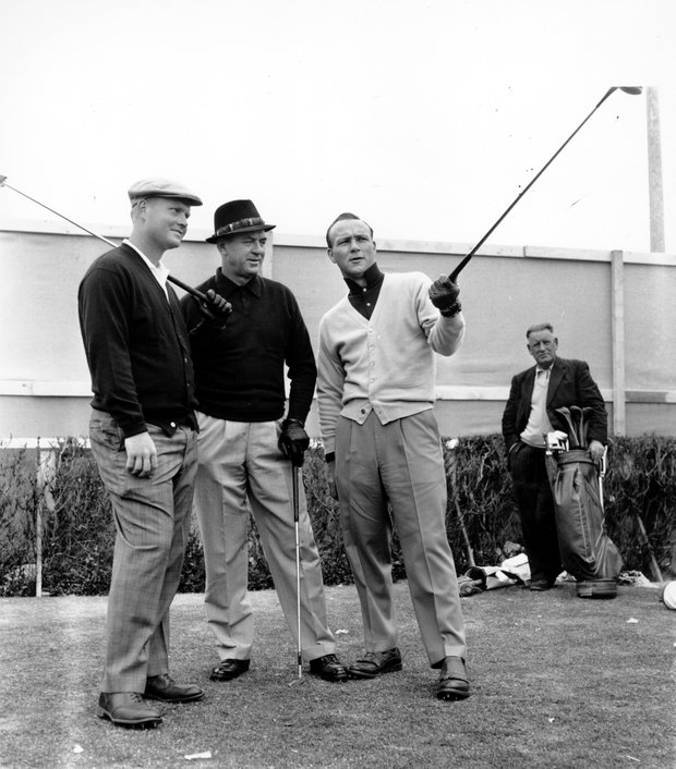 American golfers Jack Nicklaus, left, Sam Snead, center, and Arnold Palmer get together at the first tee at Troon, Ayrshire in Scotland during July 7-8 weekend in 1962.