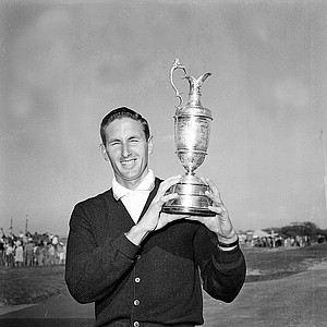 Bob Charles poses with his British Open Golf Championship trophy cup at Royal Lytham and St. Anne's in Lancashire, England, on July 13, 1963.