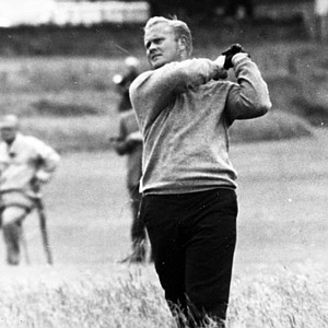 Jack Nicklaus hits from the rough at the 10th hole in the second round of the British Open Golf Championship at Muirfield Edinburgh, Scotland, on July 7, 1966.