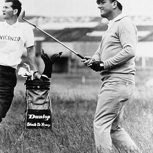 Defending champion Roberto De Vicenzo plays out of the rough on the eleventh fairway during the opening round of the British Open Golf Championship at Carnoustie, Scotland on July 10, 1968.