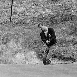 Bert Yancey of Tallahassee, Fla., hits from the bunker onto the seventh green on his second attempt in second round of British Open Golf Championship at Lytham St. Annes, England on July 10, 1969.