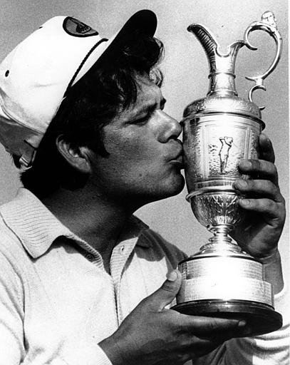 Lee Trevino kisses the British Open Golf Championship cup after he won the title for the second year running in Muirfield, Scotland, on Saturday, July 15, 1972.