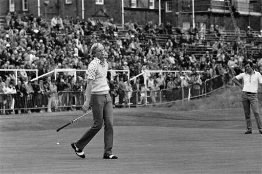 Johnny Miller misses a putt on the 18th in play at 1973 British Open.