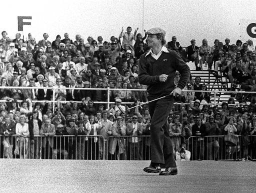 Tom Watson reacts on the 18th green after sinking a 25-foot birdie putt to force a playoff with with Jack Newton in the 1975 British Open at Carnoustie, Scotland. Watson won the 18-hole playoff by one stroke, 71 to 72.
