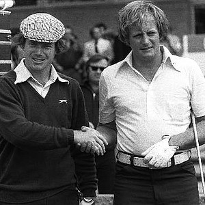 Tom Watson, left, and Jack Newton shake hands before the playoff to decide the winner of the 1975 British Open, in Carnoustie, Scotland.