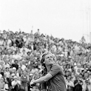 Johnny Miller throws his golf ball to the crowd after winning the 1976 British Open at the Royal Birkdale golf course in Southport, England. Miller won the Open with a six-stroke victory from Jack Nicklaus and Spain's Severiano Ballesteros, who tied for second place. Miller went round in 279, Nicklaus and Ballesteros in 285.