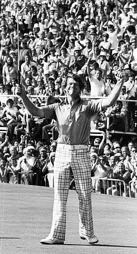 Tom Watson acknowledges applause and cheers from the gallery after winning the 1977 British Open in Turnberry, Scotland. Watson won the tournament with a record 268 total 12 under par and beat Jack Nicklaus by one stroke.