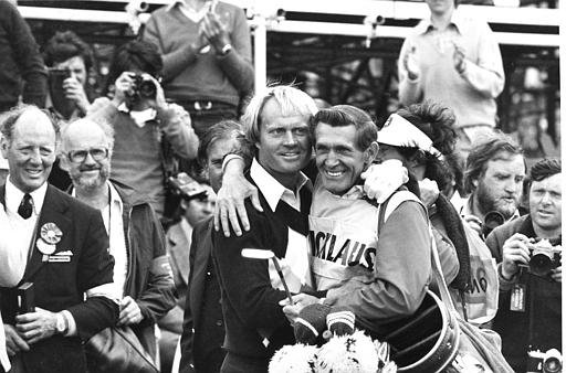 Jack Nicklaus, left, hugs his caddie Jimmy Dickinson after Nicklaus won the 1978 British Open at St. Andrews, Scotland. Nicklaus took the title with a seven under par total of 281, a two stroke lead over the rest of the field. It is the third time Nicklaus has taken the British Open title.
