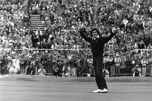 Severiano Ballesteros, of Spain, raises his arms in response to the cheers from the crowd as he wins the 1979 British Open at Royal Lytham and St. Anne's in Lancashire, England.