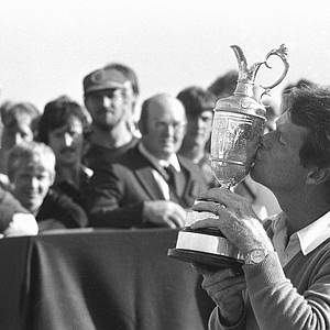 Tom Watson, U.S.A., kisses the British Open Golf Championship trophy after winning the title in Troon, Scotland, July 18, 1982. He finished with four under par and a total score of 284.