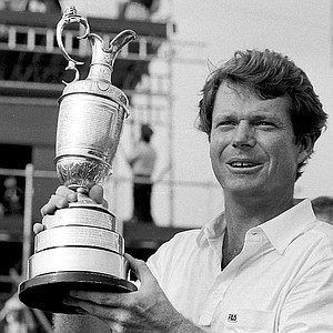 Tom Watson, U.S.A., poses with his trophy after winning the British Open Golf Championship on the Royal Birkdale Golf Course in Birkdale, England, July 17, 1983.