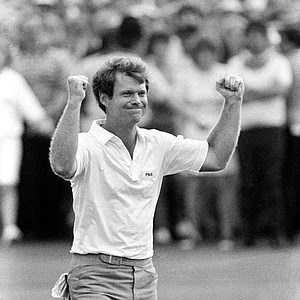 Tom Watson raises his hands in triumph July 17,1983 after winning the match at the Royal Birkdale Course, Birkdale, England. It was the fifth time he won the British Open Championship.