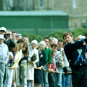 England's Nick Faldo in action on the 2nd hole during the final day's play in the 119th British Open Golf Championship at St. Andrews, Scotland, Sunday, July 22, 1990 Sunday.