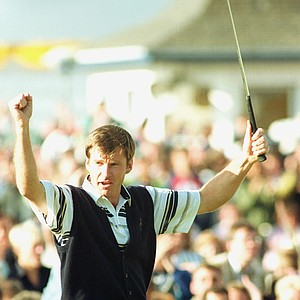 Nick Faldo, of Wentworth England, salutes the crowd after winning the 119th British Open Golf Championship at St. Andrews, Scotland, Sunday, July 22, 1990.