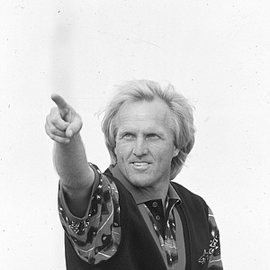 Australian golfer Greg Norman reacts after winning the British Open Golf Championship, Sunday, July 18, 1993, at Royal St. Georges golf club in Sandwich.