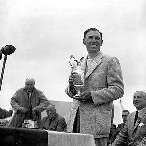 Ben Hogan holds his trophy after winning the British Open on July 10, 1953.