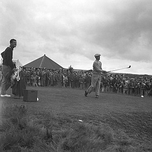 Ben Hogan tees off on the 14th hole during the final day's play in the British Open golf championship at Carnoustie, Scotland, July 10, 1953.