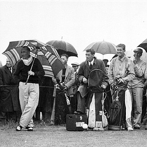 U.S. Open golf champion Ben Hogan drives off at the 9th green, at Carnoustie, Scotland, during a practice hour prior to the start of the British Open Championship in July 1953.