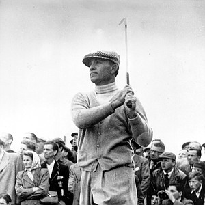 Ben Hogan is shown after chipping from rough grass during the British Open in 1953.