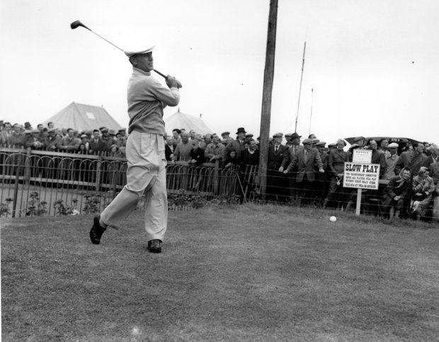 Ben Hogan of the USA, puts in a practice round over the championship course at Carnoustie, Near Dundee, Scotland on July 4, 1953 for the British Open Golf Championship.