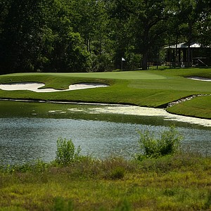 Hole No. 16 at Traditions Club, a par 3 over the lake, can look intimidating from the tee, but a shot to the middle of the green makes for an easy par.