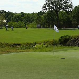 The par-4 17th at Traditions Club is a tough driving hole because of a tree in the middle of the faraway.