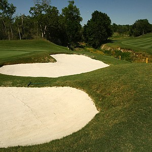 The par-5 fifth is another hole where a good tee shot and a solid wedge game can create a birdie opportunity. Accuracy is key here, as wayward drives will find OB left and a hazard right.