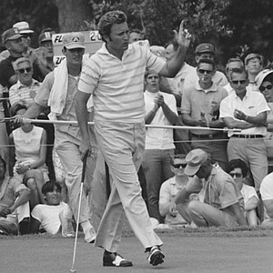 Defending Champion Ray Floyd of Dallas, Tex., waves to the crowd after sinking a putt for a birdie on the fifth hole, August 15, 1970 at Southern Hills Country Club, Tulsa, Okla., during the third round of the PGA Championship. Floyd had four birdies on the front mine to put him in a tie with the leaders of Friday.