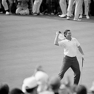 Dave Stockton of Westlake, Calif., tosses his cap to the gallery on the 18th green after winning the PGA Championship at Southern Hills Country Club, Tulsa, Okla., Aug. 16, 1970. He won with a 1-under par 279 for the 54-hole tournament.