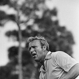 Arnold Palmer painfully watches one of his drives pull away from the airway as he toured the course in a practice round getting ready for Thursdays PGA Championship, Feb. 23, 1971, Palm Beach Gardens, Fla.