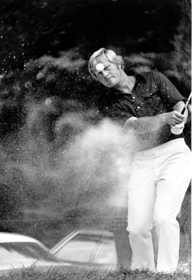 Jack Nicklaus putts the ball out of a trap during practice for the 55th playing of the PGA Championship at the Canterbury Golf Club in Cleveland, Ohio on Aug. 8, 1973.