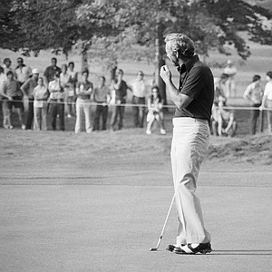Arnold Palmer, still after his first PGA title, turns head and back on ball after missing putt for birdie on first hold of opening round of the 55th PGA Championship on Thursday, August 9, 1973 at Cleveland's Canterbury Golf Club.