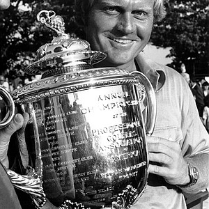 Jack Nicklaus smiles broadly as he holds his trophy at the PGA National Championship at the Canterbury Golf Club in Cleveland, Ohio on Aug. 13, 1973.