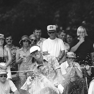 John Schlee hits his ball from a sand trap on the fourth hole during the third round of the PGA Championship, Saturday, August 10, 1974 in Clemmons, North Carolina.