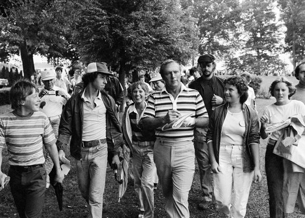 "Golfing great Arnold Palmer walks with members of his ""Army"" as he walks to the first tee for a practice round on Monday, August 10, 1976 at Congressional Country Club, Bethesda site of the 1976 PGA championship"