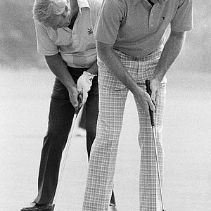 Arnold Palmer, left and Tom Weiskopf, right, who have won 74 tour victories between them, take practice putts in preparation for the 60th PGA Championship, Tuesday, Aug. 1, 1978, Oakmont, Pa. Neither golfer has over won the PGA Championship.