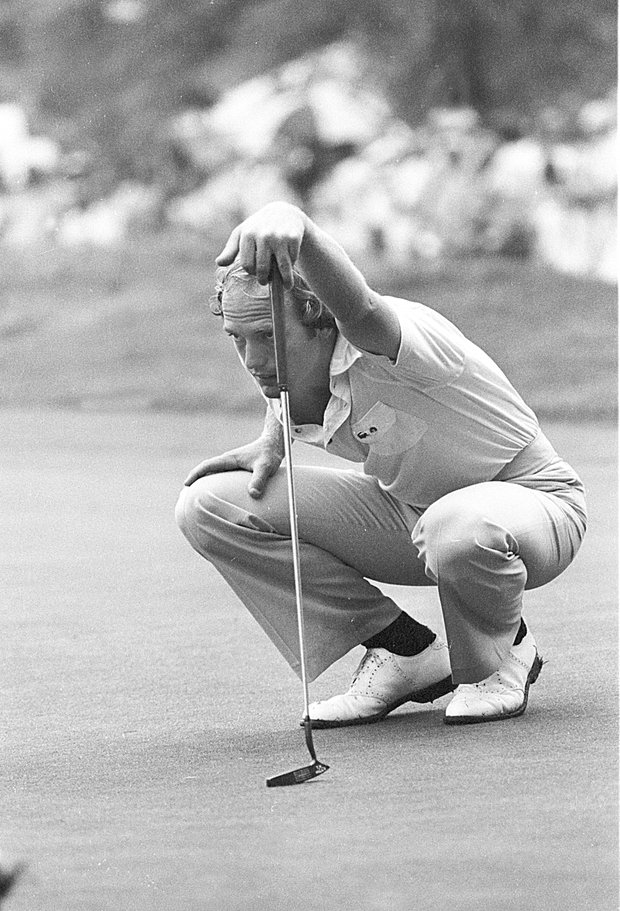 Jerry Pate of Pensacola, Fla., checks lie of 18th green before putting during semifinal round of PGA Championshp at Oakmont Country Club in Oakmont, Pa., Aug. 5, 1978.