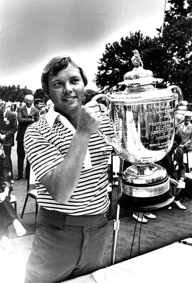 John Mahaffey of Kerrville, Texas, holds his trophy cup after winning the PGA Championship at Oakmont Country Club, Pa., on Aug. 6, 1978. Mahaffey, who won in a sudden death playoff, also won $50,000.