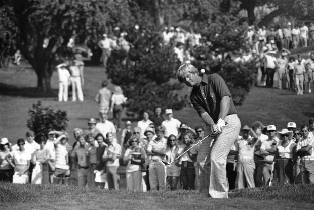 Jack Nicklaus chips to the second green at Oakland Hills in Birmingham, Mich., Aug. 3, 1979, during second round action in the PGA championship.