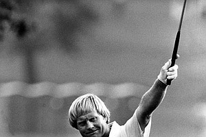 Jack Nicklaus responds to the crowd after he birdies the 18th hole during the second round of the PGA Championship at Oak Hill Country Club in Rochester, N.Y., Friday, Aug. 8, 1980. Nicklaus's birdie gives him one under par for the 36 holes and puts him one stroke behind the leader, Dr. Gil Morgan