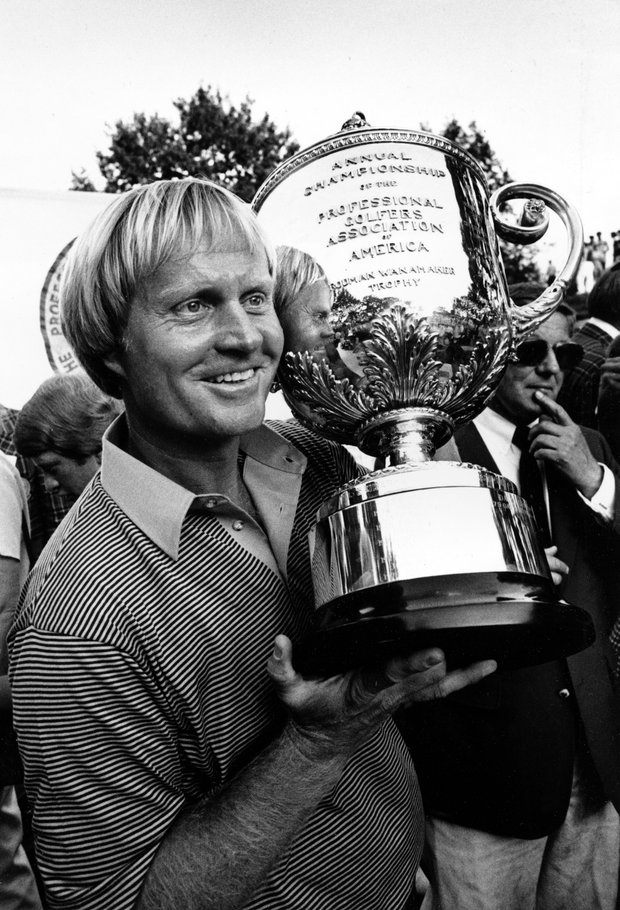 Jack Nicklaus poses with the PGA Championship trophy at Oak Hill Country Club in Rochester, N.Y., Sunday, Aug. 10, 1980