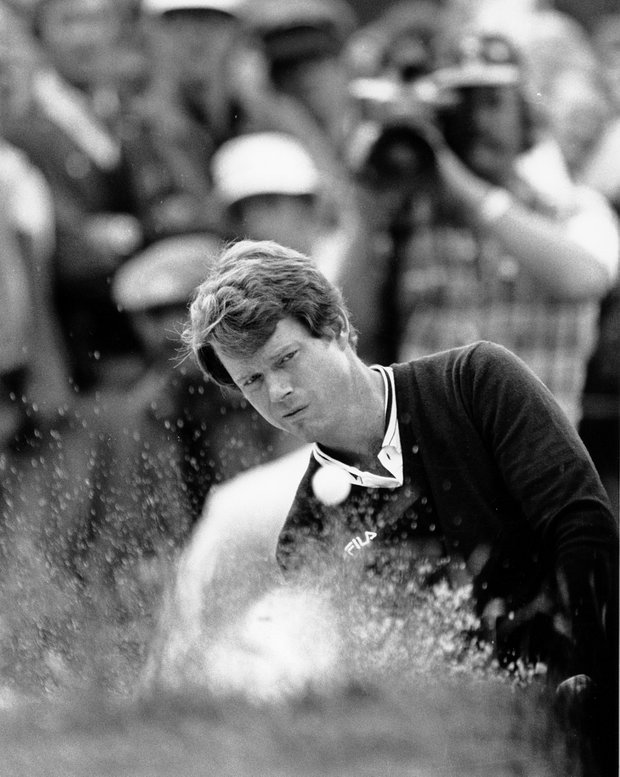 Tom Watson hits from a trap on the second hole during the fourth round of the U.S. Open at Pebble Beach, Calif., on June 20, 1982.